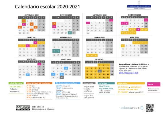 Calendario escolar, curso 2020-2021