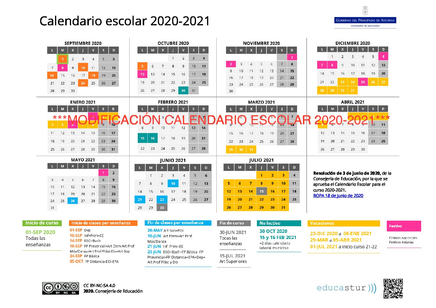 ***IMPORTANTE*** Se modifica el calendario escolar 2020-2021
