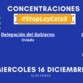 #StopLeyCelaá. Concentraciones en Oviedo, Gijón, Avilés, Langreo y Pola de Lena. ¡Únete!